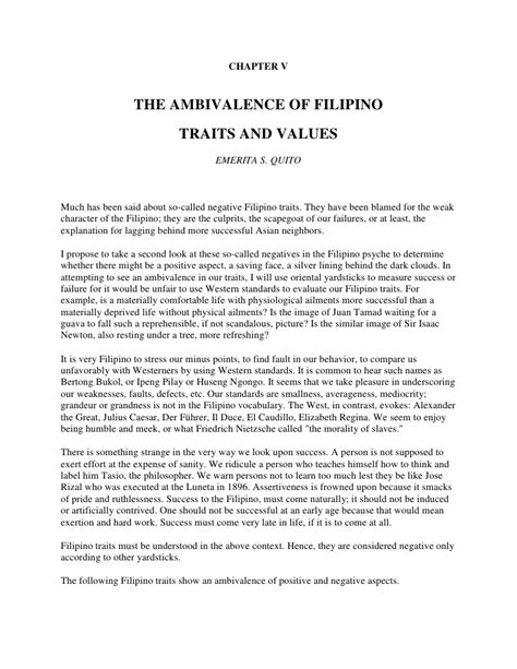 The ambivalence of filipino traits and values