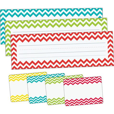 pattern name tags chevron assorted color nameplate and name tag set