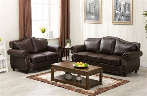 traditional sofas with wood trim linden traditional brown bonded leather sofa loveseat