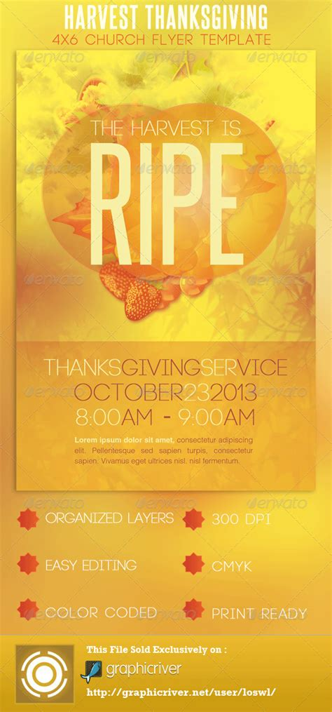 Church Harvest Thanksgiving Service Flyer By Loswl Graphicriver Church Program Template Graphics