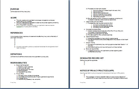 sle privacy policy document format template