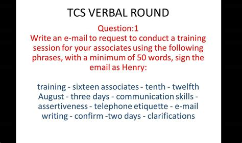 email writing pattern tcs tcs email writing question and answer 1 youtube
