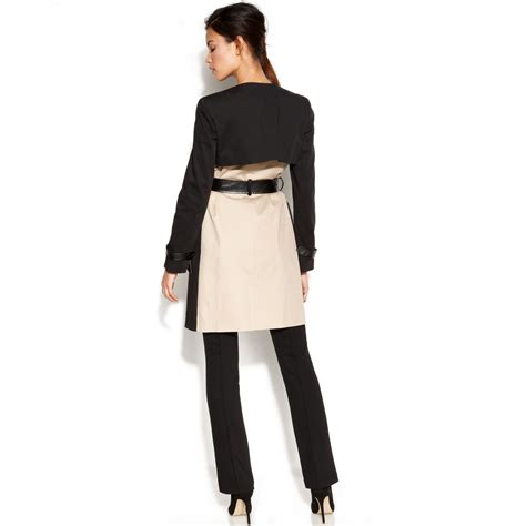 color block trench coat dkny colorblock mixedmedia trench coat in lyst