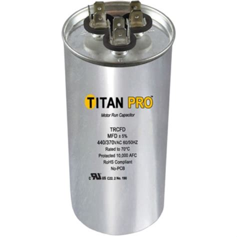 7 5 mfd 370 vac capacitor titan pro trcfd5075 run capacitor 50 7 5 mfd 440 370 volt boat and rv accessories