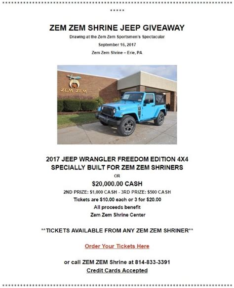Jeep Wrangler Sweepstakes 2017 - 2017 jeep wrangler freedom edition 4x4 or 20 000 cash