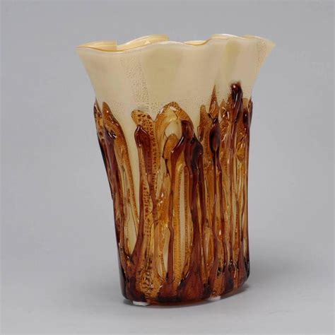 Gold Colored Vases Color Murano Vase Encased In Applied Gold Glass