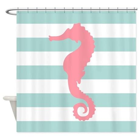 mint colored shower curtain pink and mint seahorse shower curtain by mcornwallshop