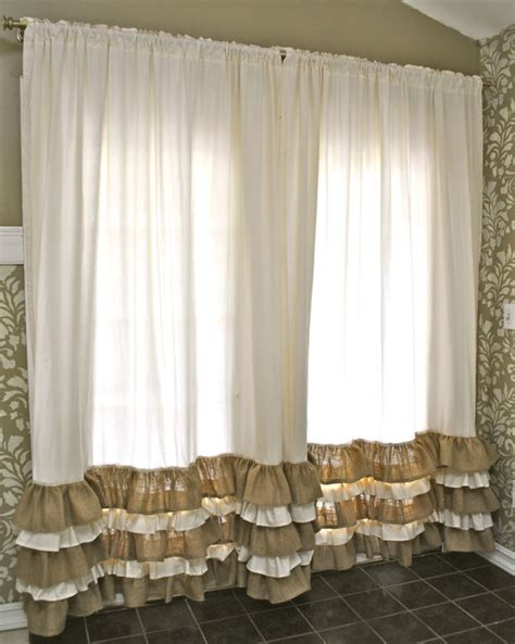 burlap ruffle curtains ruffled bottom burlap curtain drapes