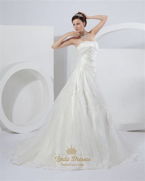 ivory a line strapless chapel train wedding dresses with