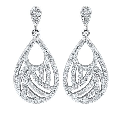 Sterling Silver Cubic Drop Ring fancy drop earrings with cubic zirconia in sterling silver