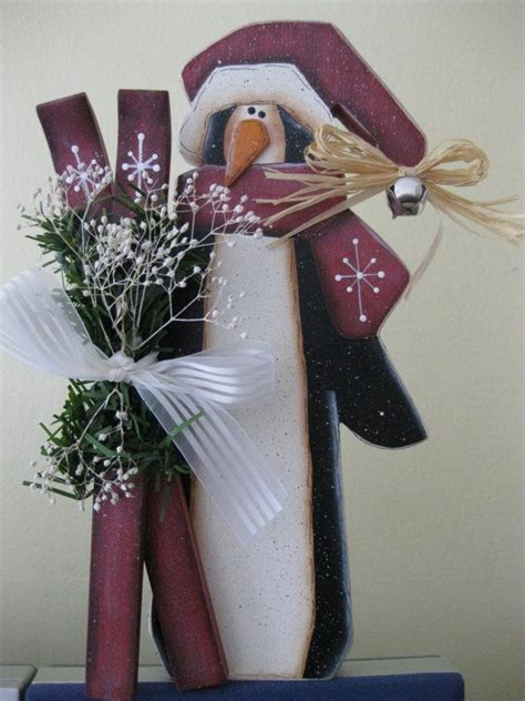 skiing penguin holiday christmas decoration hand painted wood penguins christmas