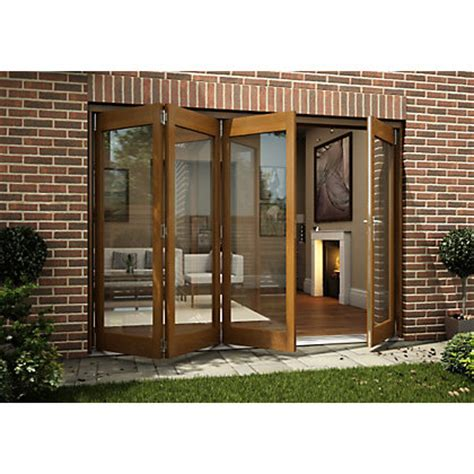 Homebase Patio Doors Oak Veneer Folding Sliding Patio Doorset 2994mm Wide