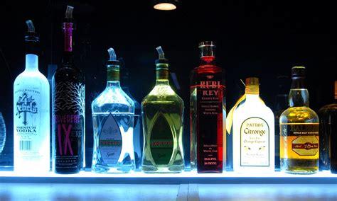 lighted liquor bar shelf