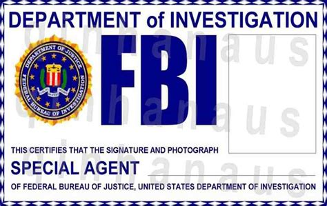 Special Agent Id Card Template Gallery For Gt Fbi Badge Template