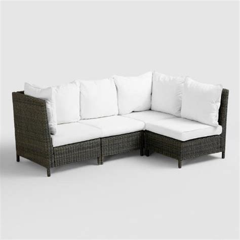 all weather wicker sectional all weather wicker solano sectional armless chair world