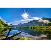 Sun Over The Mountain Lake HD Desktop Wallpaper