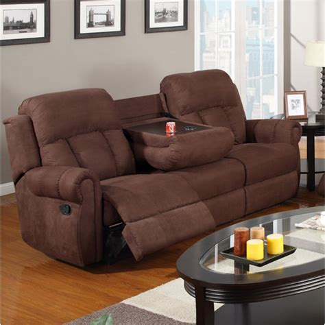 reclining sofa with drink holder recliner sofa w cup holders chocolate microfibe 3
