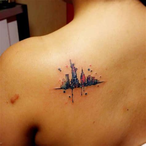 tattoo new york skyline watercolor style new york skyline tattoo on the left