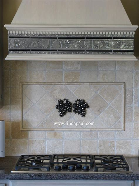 decorative kitchen backsplash tiles how to install metal tile accents and stone mosaic medallions
