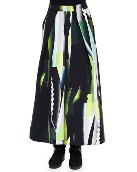 kenzo collage pattern a line maxi skirt