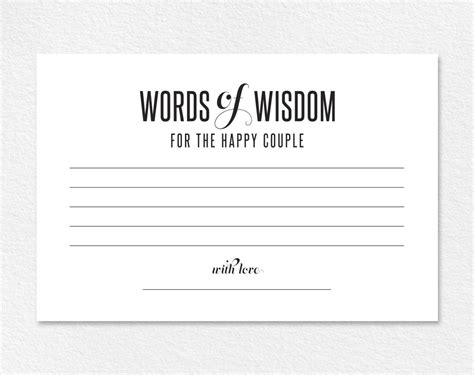 templates for wedding advice cards 2 words of wisdom wedding advice printable