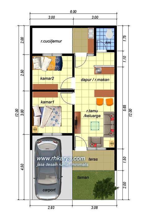 denah rumah minimalis 6x12 type 45 jasa desain rumah minimalis murah