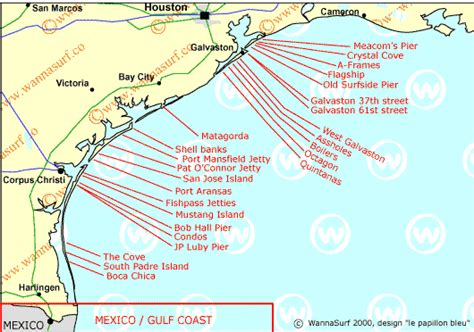 map of the texas coast texas surfing in texas united states of america wannasurf surf spots atlas surfing photos