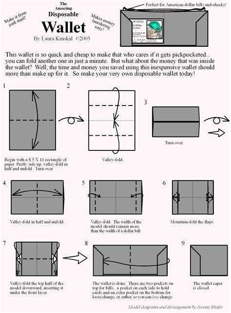 How To Make A Wallet Paper - wallet origami diagram paper origami guide