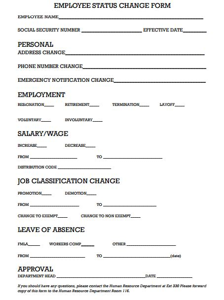 6 Employee Status Change Forms Word Excel Templates Free Employee Status Change Form Template