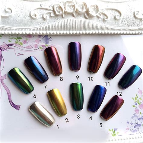 Magico Nail Guide Stickers 12 colors magic mirror chrome effect metallic powder set