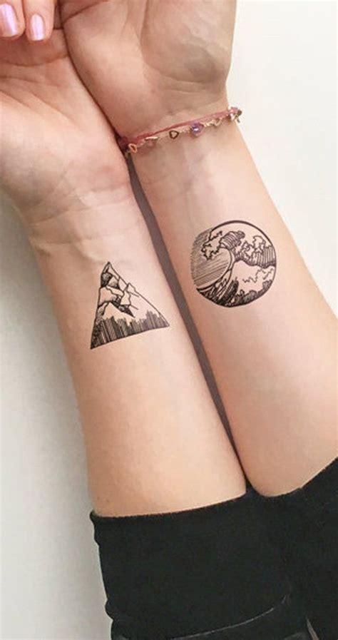 nature wrist tattoos solstice small geometric nature waves mountain temporary