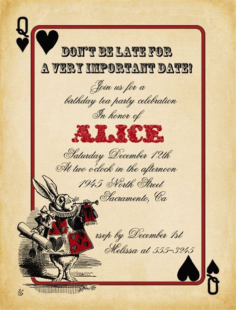 playing card alice in wonderland invitation bridal shower