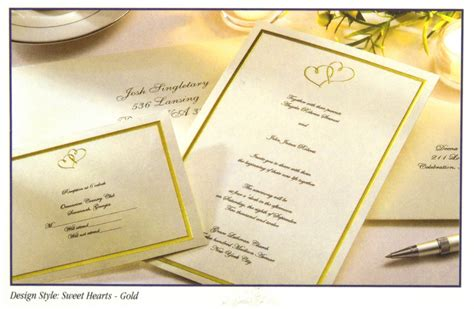 Wilton Print Wedding Invitations by 160 Wilton Ivory Gold Hearts Wedding Invitation Kits