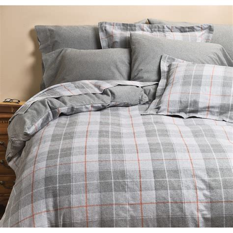 kimlor plaid flannel duvet cover set king 6 oz