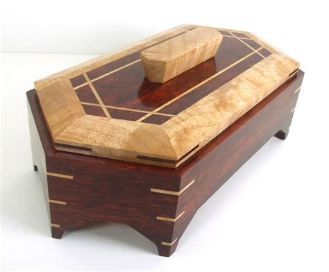 Handcrafted Boxes - bloodwood jewelry box handmade from solid bloodwood