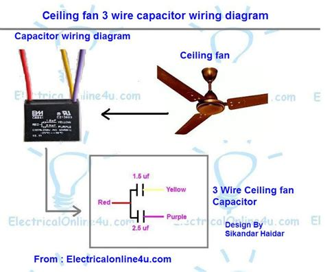 how to wire a ceiling fan with 4 wires ceiling fan 3 wire capacitor wiring diagram electrical