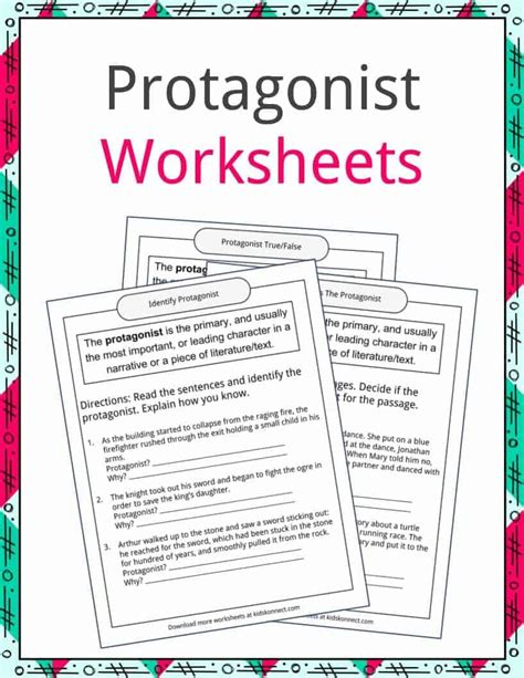 protagonist and antagonist worksheet bluegreenish