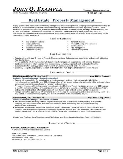 property manager resume resume sles types of resume formats exles and