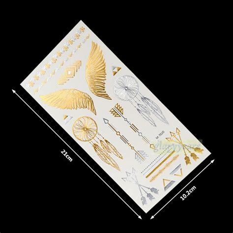 1pc flash gold silver metallic dreamcatcher tattoos reviews shopping
