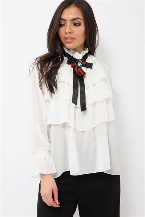 Tie Neck Sheer Blouse white sheer ruffle blouse with striped neck tie viktoria