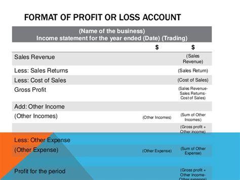 upper secondary principles of account profit or loss account