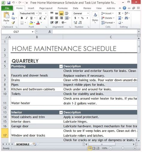 Free Home Maintenance Schedule And Task List Template For Excel Home Repair List Template