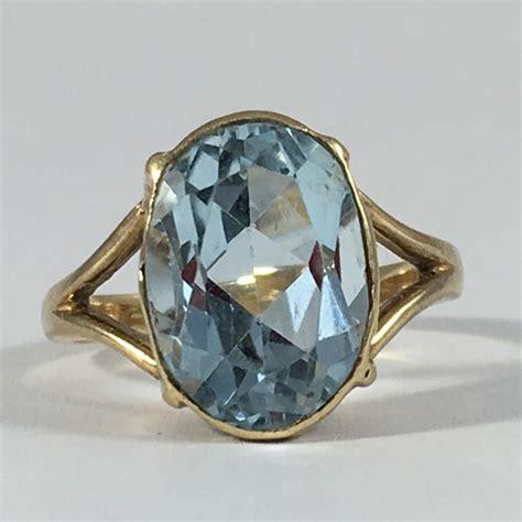 vintage blue topaz ring 14k yellow gold setting sky blue
