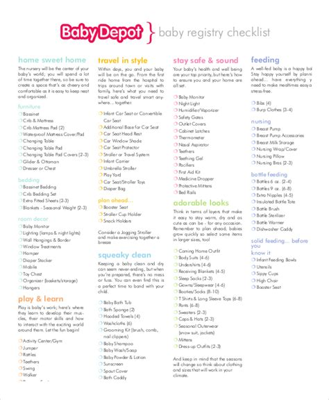 themes list pdf baby registry checklist 8 free word pdf psd documents