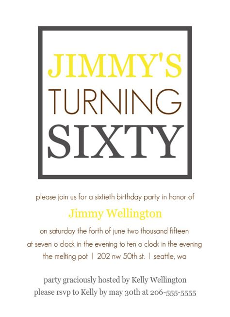 Invitation Letter For 60th Birthday 6 Best Images Of 60th Birthday Invitations Templates Free Printable 60th Birthday Invitation