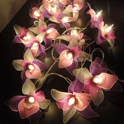 20 Pink White Purple Orchid Flower Fairy String By Marwincraft Flower Lights String