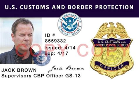 government id card template cbp customs and border protection novelty id card