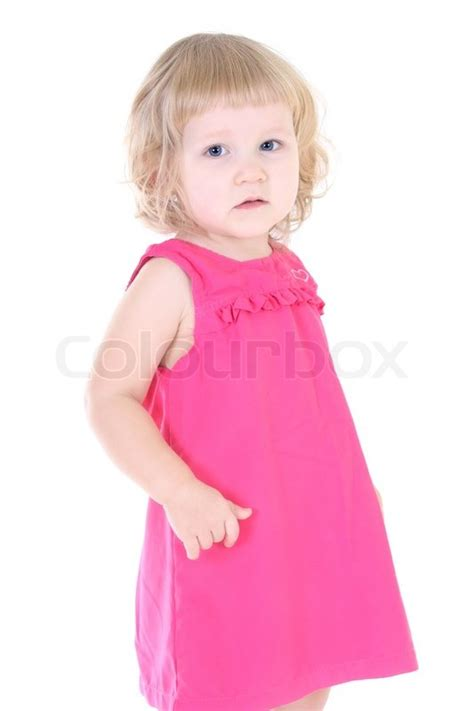 angry little girl in pink isolated on a white background little girl in pink dress isolated over white background
