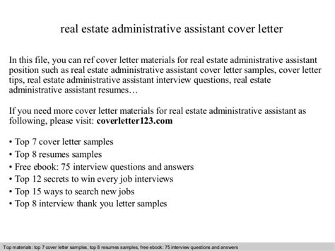 Cover Letter Administrative Assistant Real Estate Real Estate Administrative Assistant Cover Letter