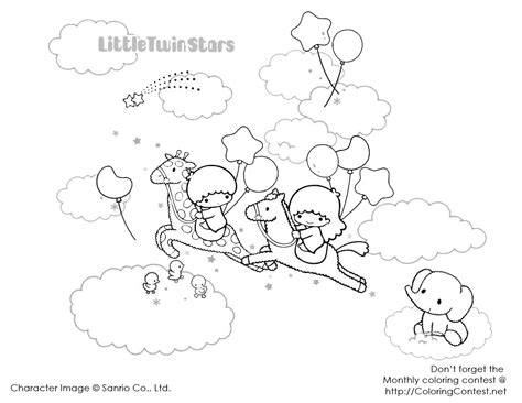 little twin star coloring pages 4 cute kawaii resources